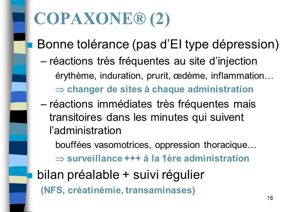 16 COPAXONE® (2) n Bonne tolérance (pas dEI type dépression) –réactions très fréquentes au site dinjection érythème, induration, prurit, œdème, inflam