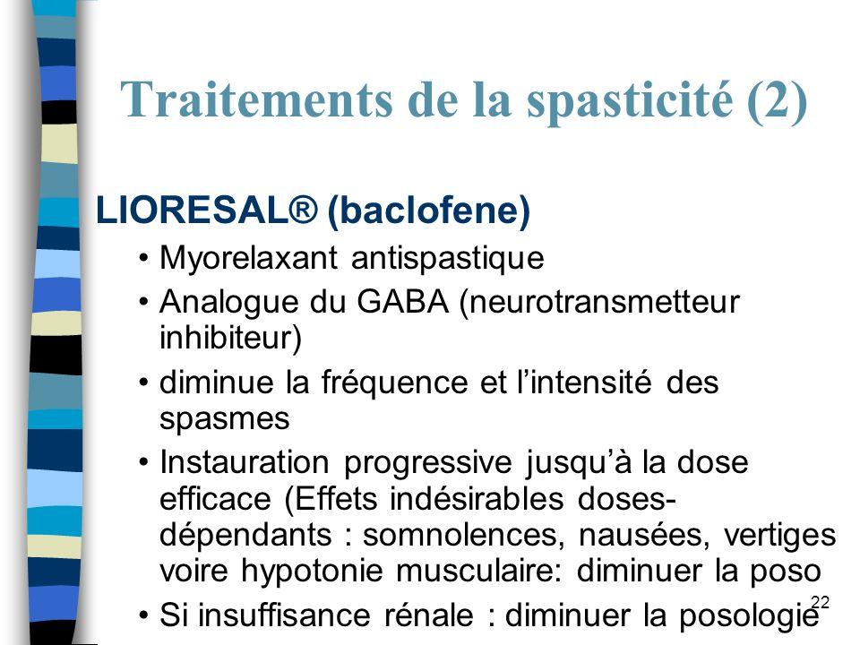 22 Traitements de la spasticité (2) LIORESAL® (baclofene) Myorelaxant antispastique Analogue du GABA (neurotransmetteur inhibiteur) diminue la fréquen