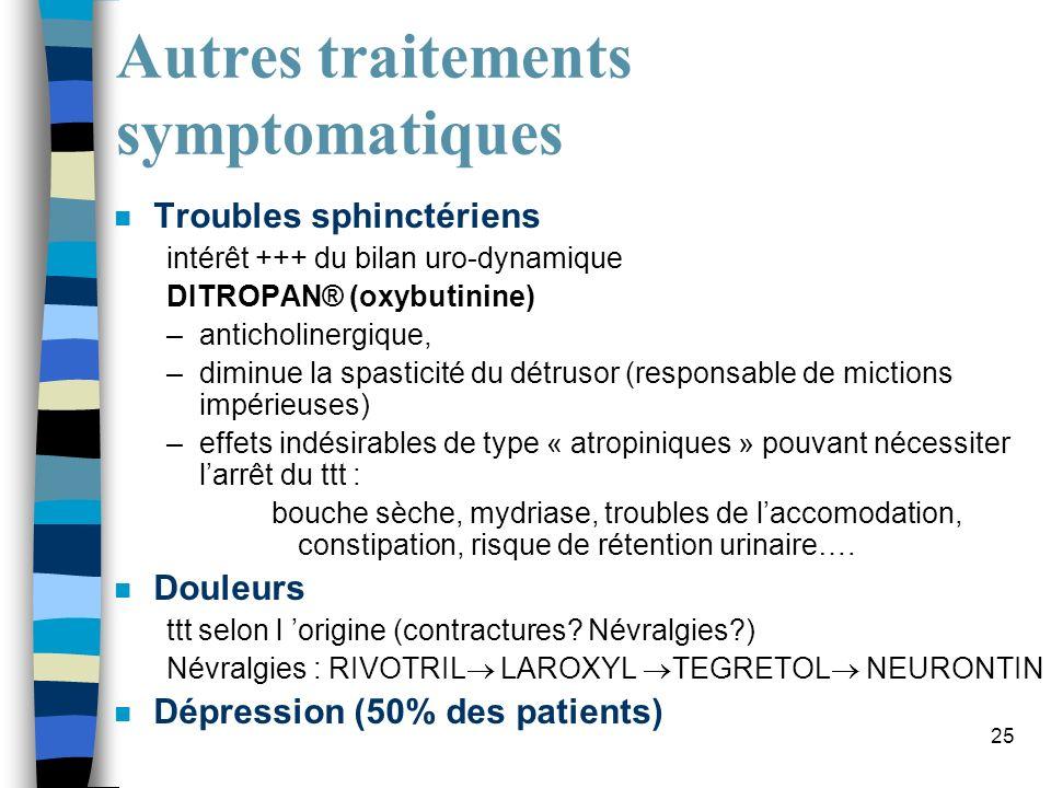 25 Autres traitements symptomatiques n Troubles sphinctériens intérêt +++ du bilan uro-dynamique DITROPAN® (oxybutinine) –anticholinergique, –diminue