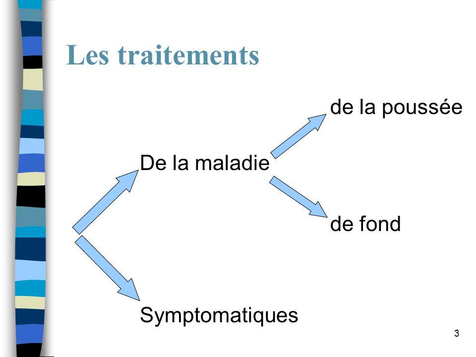 3 Les traitements de la poussée De la maladie de fond Symptomatiques