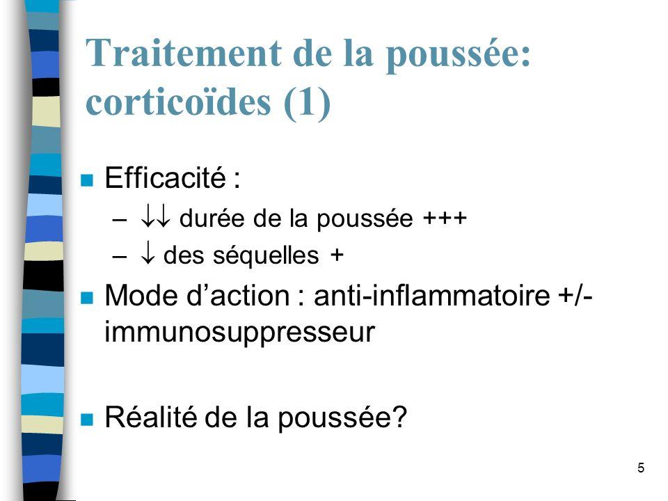 6 Traitement de la poussée: corticoïdes (2) n Le traitement : bolus de méthylprednisolone –principe : 2.5 à 3 g sur 5 jours (perfusions dans 250 mL de G5) –Protocoles variables : 500 mg x 5 1000 mg x 3 –peu de contre-indications (cœur, dépression, diabète) –alternatives : per os 4-6 semaines, ACTH en IM