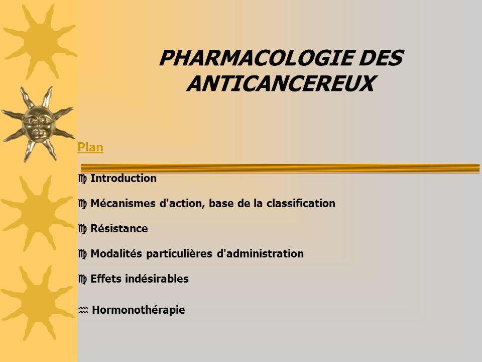 PHARMACOLOGIE DES ANTICANCEREUX Plan Introduction Mécanismes d action, base de la classification Résistance Modalités particulières d administration Effets indésirables Hormonothérapie