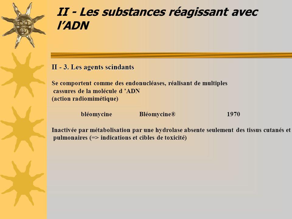 II - Les substances réagissant avec lADN II - 3. Les agents scindants Se comportent comme des endonucléases, réalisant de multiples cassures de la mol