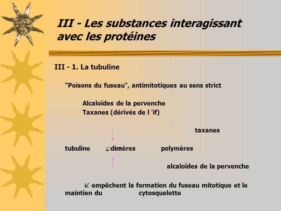 III - Les substances interagissant avec les protéines III - 1. La tubuline
