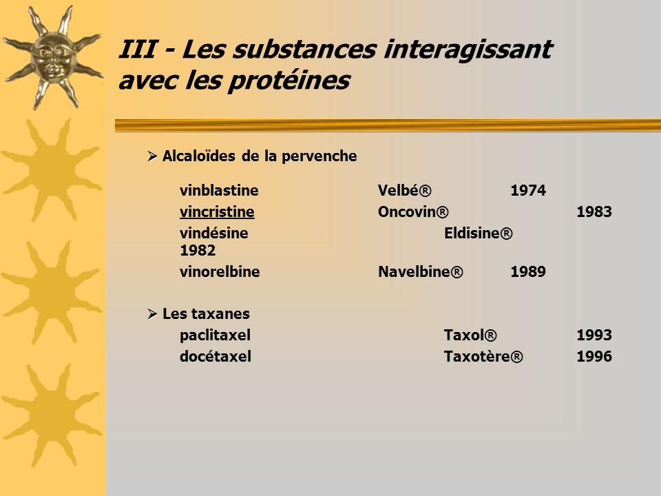 III - Les substances interagissant avec les protéines Alcaloïdes de la pervenche vinblastineVelbé®1974 vincristineOncovin®1983 vindésineEldisine® 1982
