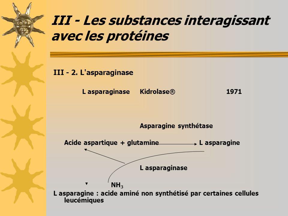III - Les substances interagissant avec les protéines III - 2. L'asparaginase L asparaginaseKidrolase®1971 Asparagine synthétase Acide aspartique + gl