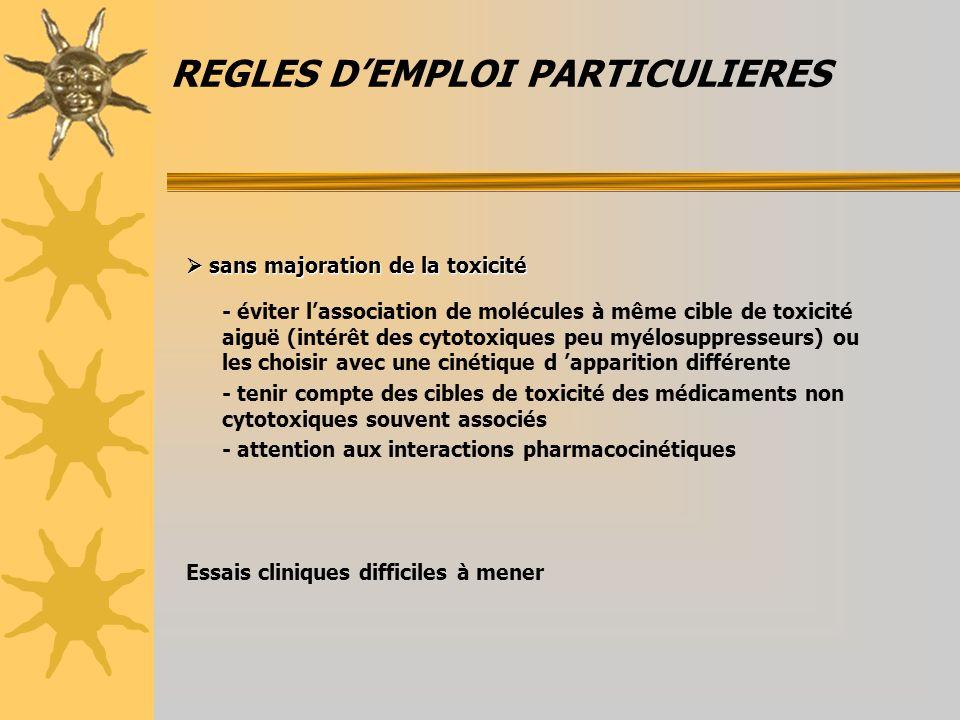 REGLES DEMPLOI PARTICULIERES sans majoration de la toxicité sans majoration de la toxicité - éviter lassociation de molécules à même cible de toxicité