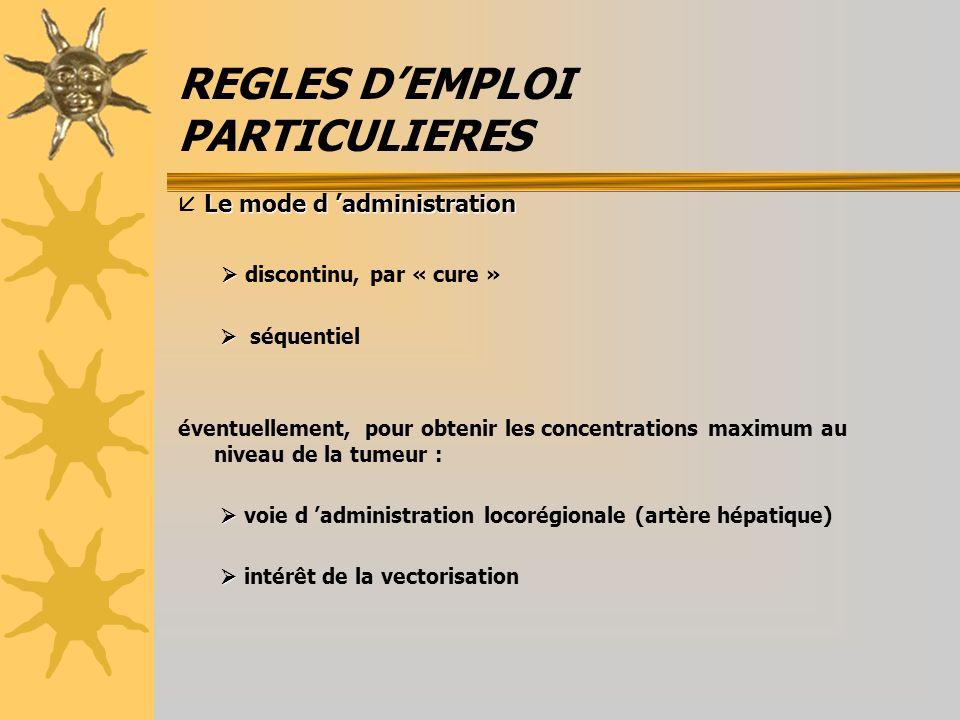 REGLES DEMPLOI PARTICULIERES Le mode d administration Le mode d administration discontinu, par « cure » séquentiel éventuellement, pour obtenir les co