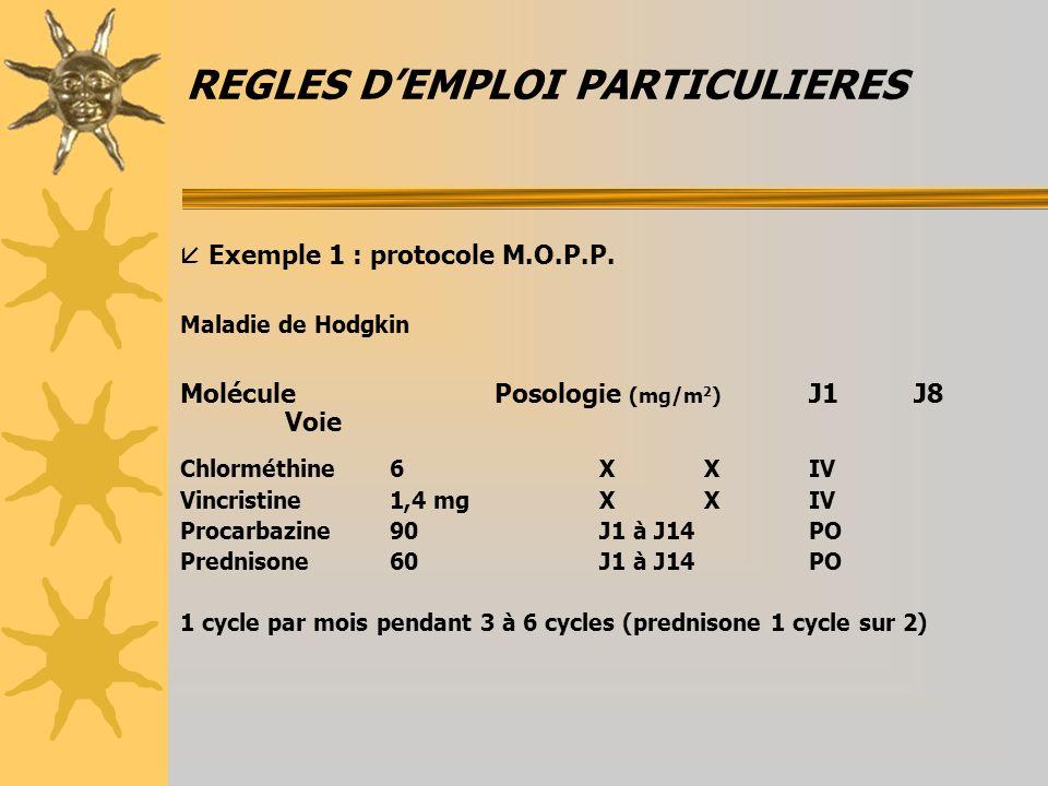REGLES DEMPLOI PARTICULIERES Exemple 1 : protocole M.O.P.P. Maladie de Hodgkin MoléculePosologie (mg/m 2 ) J1J8 Voie Chlorméthine6XXIV Vincristine1,4