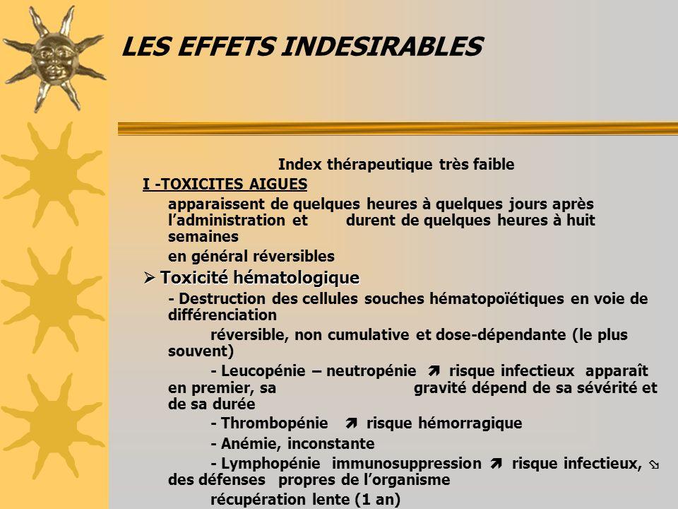 LES EFFETS INDESIRABLES Index thérapeutique très faible I -TOXICITES AIGUES apparaissent de quelques heures à quelques jours après ladministration et
