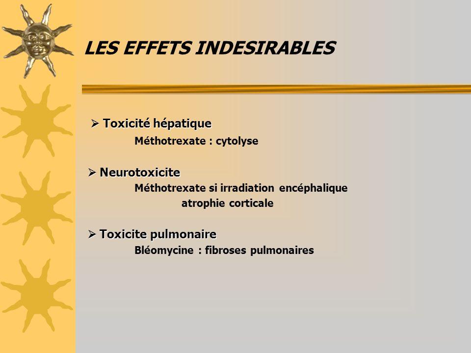 LES EFFETS INDESIRABLES Toxicité hépatique Toxicité hépatique Méthotrexate : cytolyse Neurotoxicite Neurotoxicite Méthotrexate si irradiation encéphalique atrophie corticale Toxicite pulmonaire Toxicite pulmonaire Bléomycine : fibroses pulmonaires