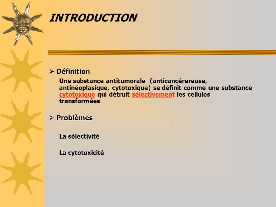INTRODUCTION Définition Définition Une substance antitumorale (anticancérereuse, antinéoplasique, cytotoxique) se définit comme une substance cytotoxi