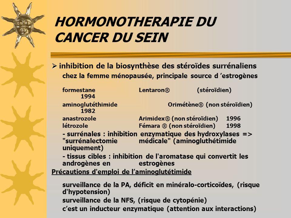 HORMONOTHERAPIE DU CANCER DU SEIN inhibition de la biosynthèse des stéroïdes surrénaliens chez la femme ménopausée, principale source d estrogènes formestaneLentaron®(stéroïdien) 1994 aminoglutéthimideOrimétène® (non stéroïdien) 1982 anastrozoleArimidex® (non stéroïdien) 1996 létrozoleFémara ® (non stéroïdien) 1998 - surrénales : inhibition enzymatique des hydroxylases => surrénalectomie médicale (aminogluthétimide uniquement) - tissus cibles : inhibition de l aromatase qui convertit les androgènes en estrogènes Précautions d emploi de laminoglutétimide surveillance de la PA, déficit en minéralo-corticoïdes, (risque d hypotension) surveillance de la NFS, (risque de cytopénie) cest un inducteur enzymatique (attention aux interactions)