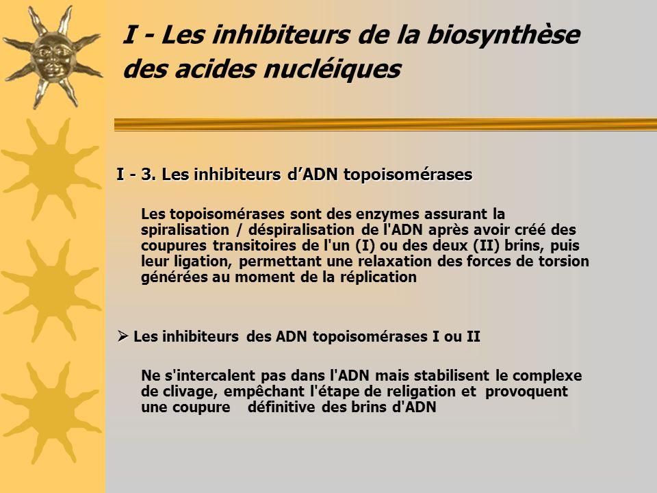 I - Les inhibiteurs de la biosynthèse des acides nucléiques I - 3. Les inhibiteurs dADN topoisomérases Les topoisomérases sont des enzymes assurant la