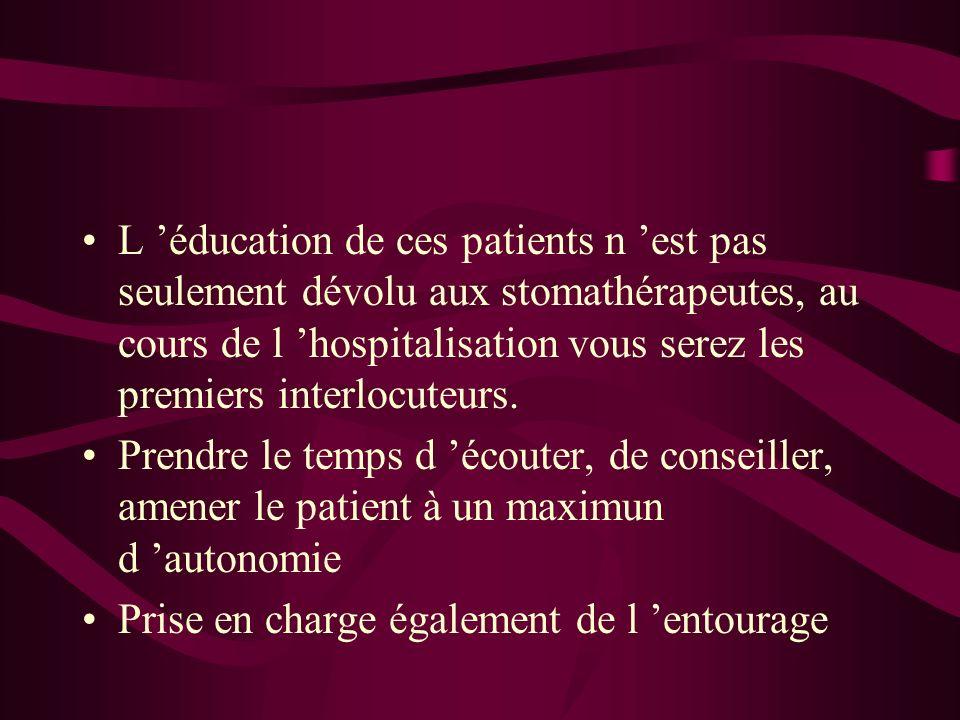 L éducation de ces patients n est pas seulement dévolu aux stomathérapeutes, au cours de l hospitalisation vous serez les premiers interlocuteurs.