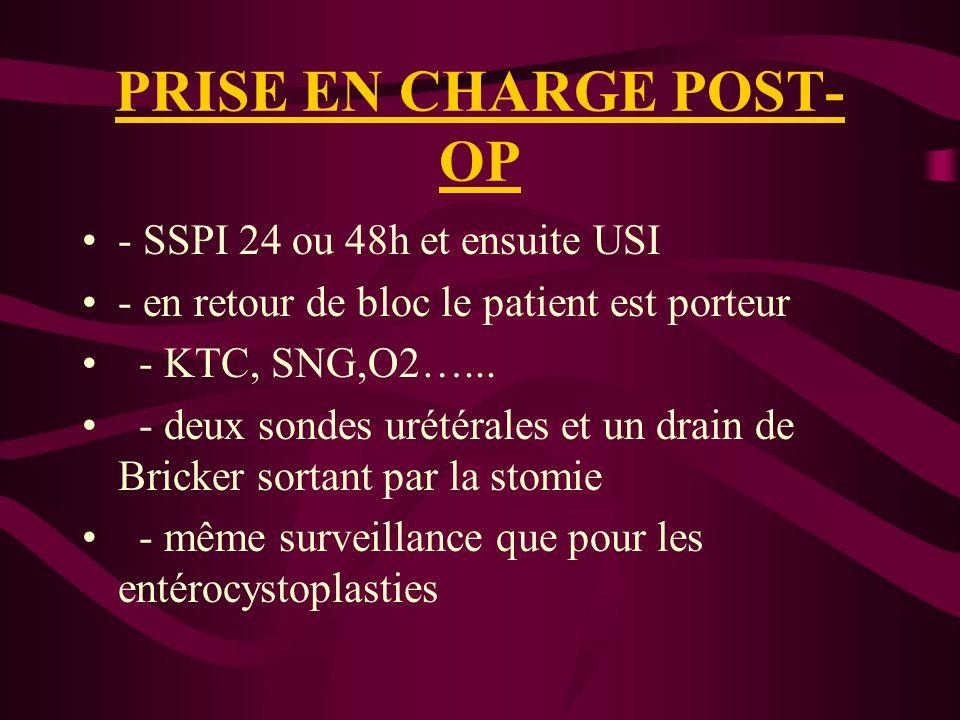PRISE EN CHARGE POST- OP - SSPI 24 ou 48h et ensuite USI - en retour de bloc le patient est porteur - KTC, SNG,O2…...