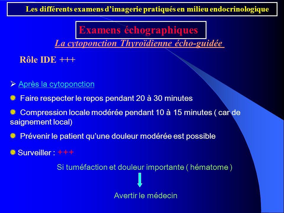 Après la cytoponction Faire respecter le repos pendant 20 à 30 minutes Compression locale modérée pendant 10 à 15 minutes ( car de saignement local) P