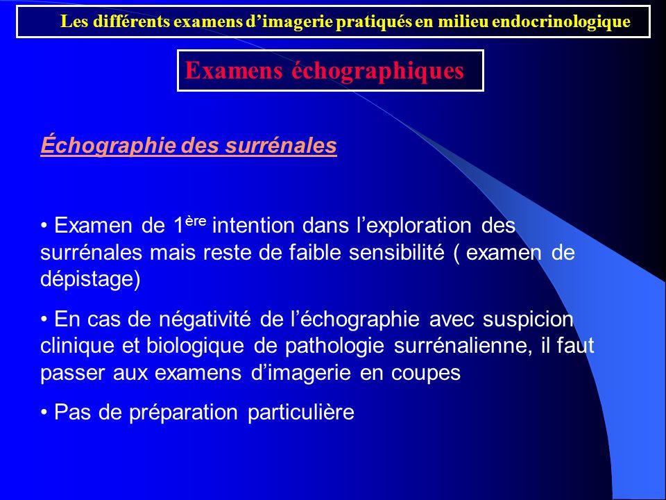 Échographie des surrénales Examen de 1 ère intention dans lexploration des surrénales mais reste de faible sensibilité ( examen de dépistage) En cas d