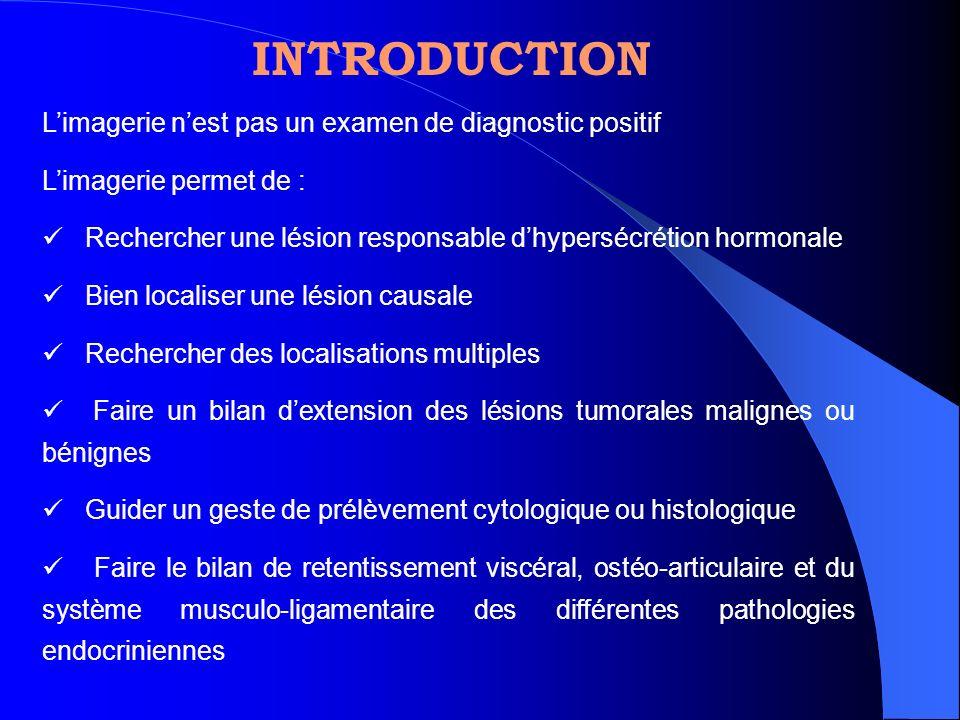 Limagerie nest pas un examen de diagnostic positif Limagerie permet de : Rechercher une lésion responsable dhypersécrétion hormonale Bien localiser un