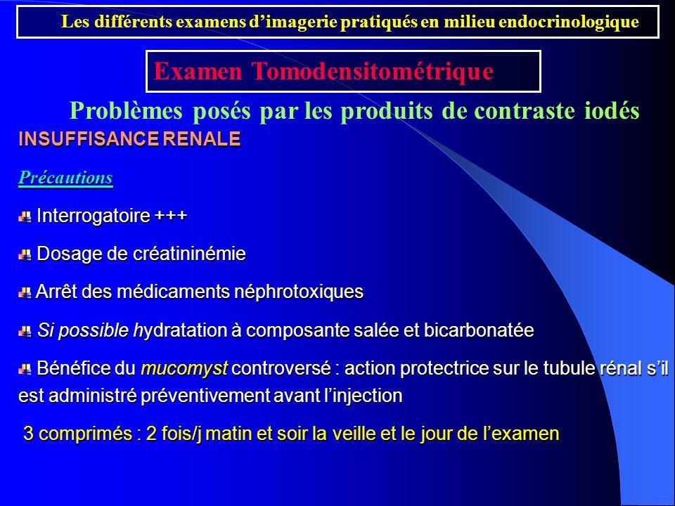 INSUFFISANCE RENALE Précautions Interrogatoire +++ Interrogatoire +++ Dosage de créatininémie Dosage de créatininémie Arrêt des médicaments néphrotoxi