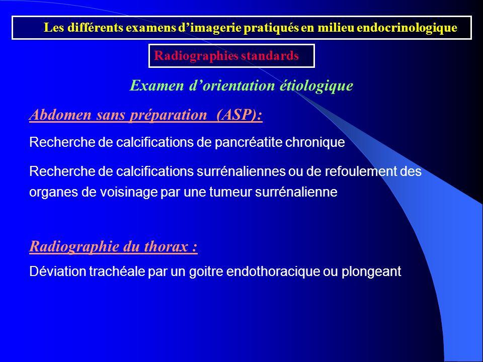 Les différents examens dimagerie pratiqués en milieu endocrinologique Radiographies standards Examen dorientation étiologique Abdomen sans préparation