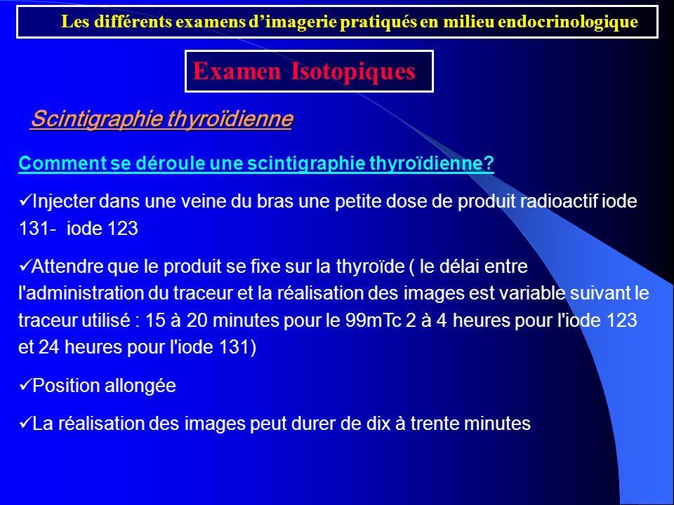 Scintigraphie thyroïdienne Comment se déroule une scintigraphie thyroïdienne? Injecter dans une veine du bras une petite dose de produit radioactif io