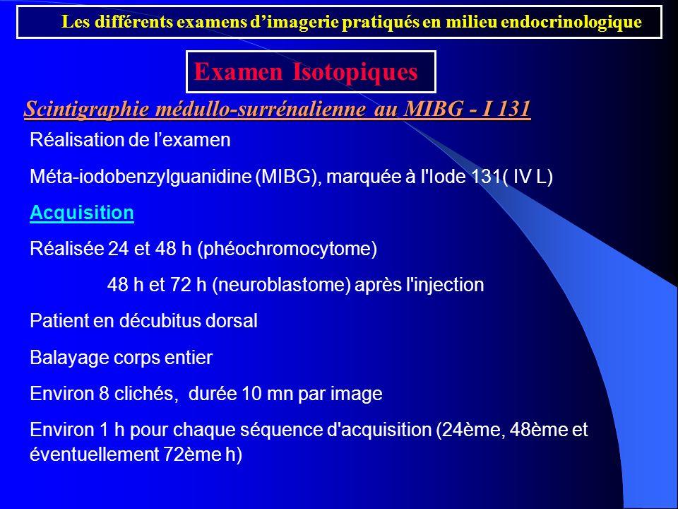 Scintigraphie médullo-surrénalienne au MIBG - I 131 Réalisation de lexamen Méta-iodobenzylguanidine (MIBG), marquée à l'Iode 131( IV L) Acquisition Ré