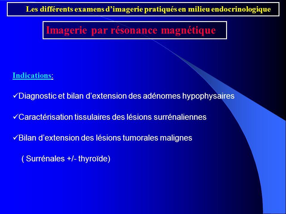 Indications: Diagnostic et bilan dextension des adénomes hypophysaires Caractérisation tissulaires des lésions surrénaliennes Bilan dextension des lés