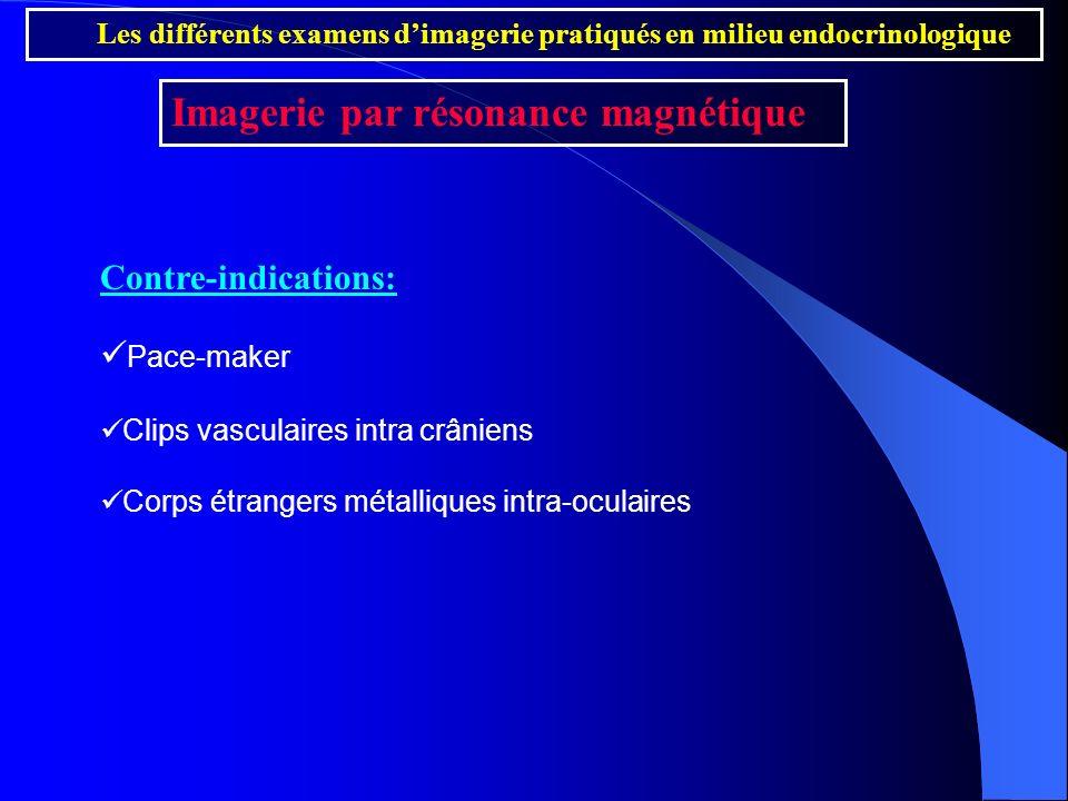 Contre-indications: Pace-maker Clips vasculaires intra crâniens Corps étrangers métalliques intra-oculaires Les différents examens dimagerie pratiqués
