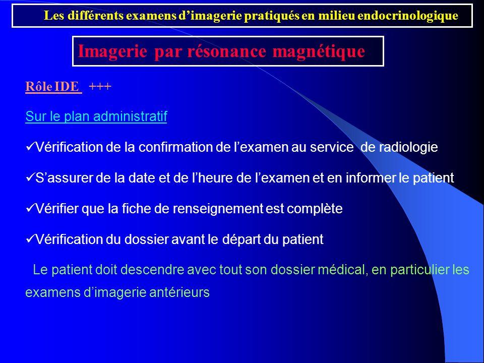 Rôle IDE +++ Sur le plan administratif Vérification de la confirmation de lexamen au service de radiologie Sassurer de la date et de lheure de lexamen