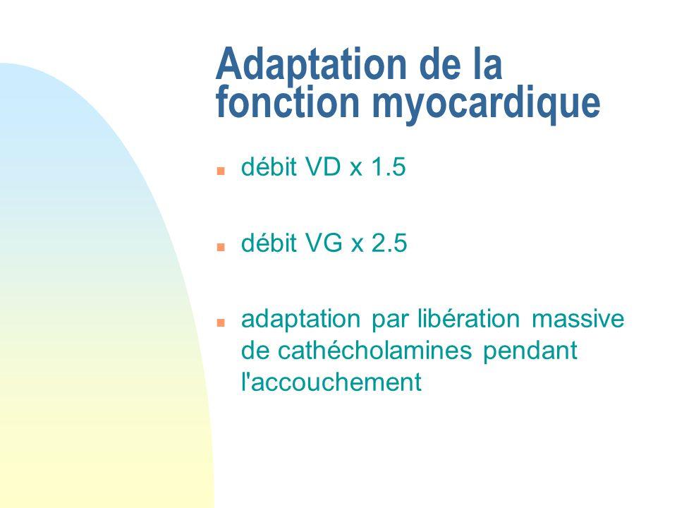 Adaptation de la fonction myocardique n débit VD x 1.5 n débit VG x 2.5 n adaptation par libération massive de cathécholamines pendant l'accouchement