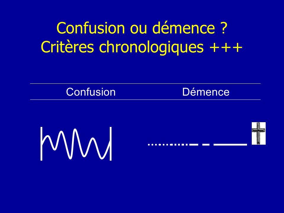 Confusion ou démence ? Critères chronologiques +++ ConfusionDémence