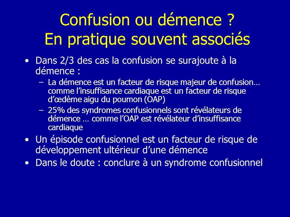 Confusion ou démence ? En pratique souvent associés Dans 2/3 des cas la confusion se surajoute à la démence : –La démence est un facteur de risque maj