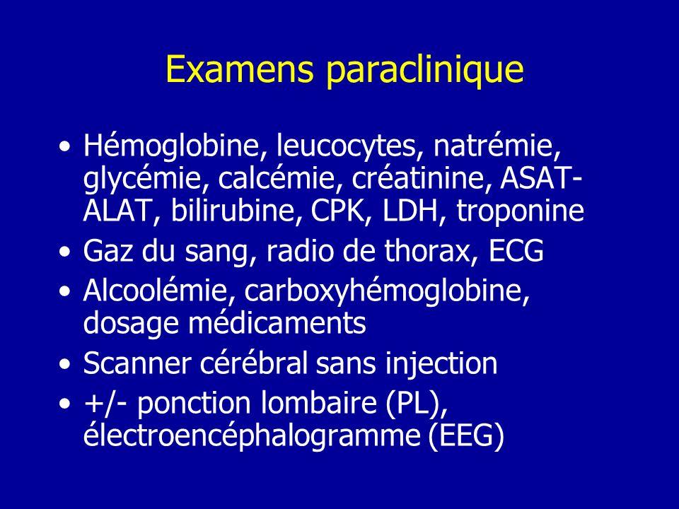 Examens paraclinique Hémoglobine, leucocytes, natrémie, glycémie, calcémie, créatinine, ASAT- ALAT, bilirubine, CPK, LDH, troponine Gaz du sang, radio