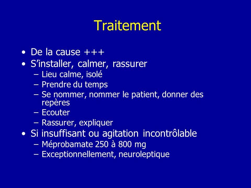 Traitement De la cause +++ Sinstaller, calmer, rassurer –Lieu calme, isolé –Prendre du temps –Se nommer, nommer le patient, donner des repères –Ecoute
