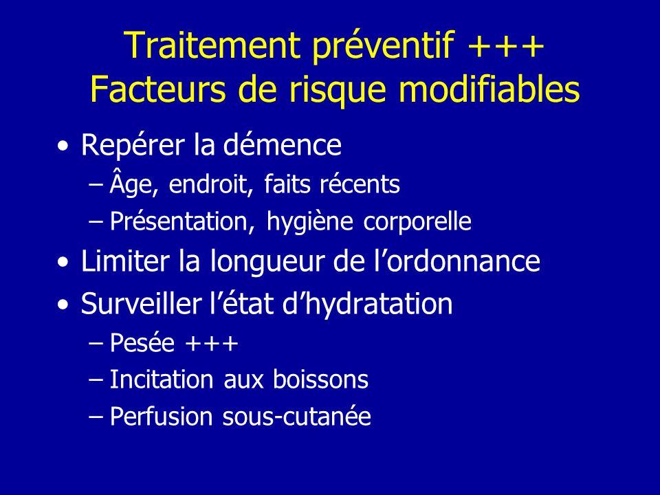 Traitement préventif +++ Facteurs de risque modifiables Repérer la démence –Âge, endroit, faits récents –Présentation, hygiène corporelle Limiter la l