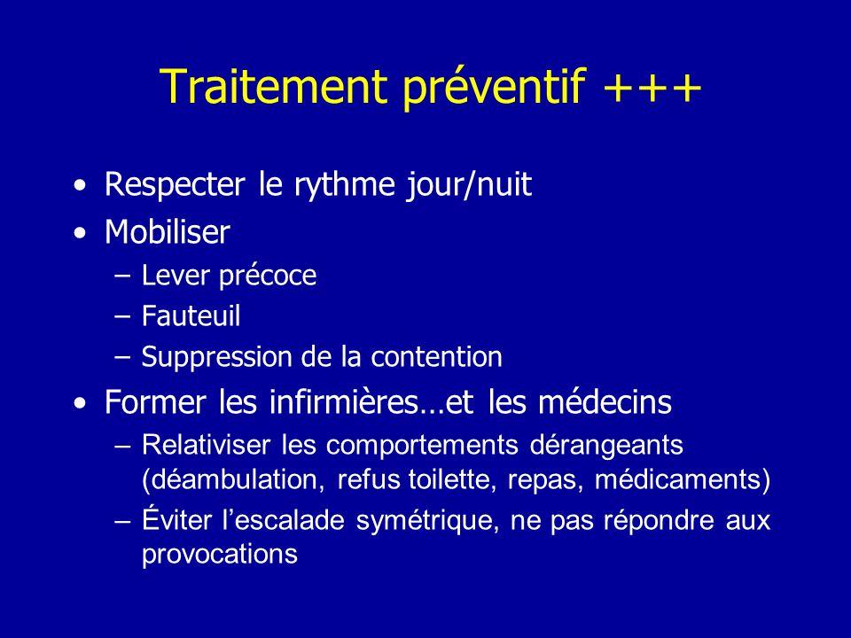 Traitement préventif +++ Respecter le rythme jour/nuit Mobiliser –Lever précoce –Fauteuil –Suppression de la contention Former les infirmières…et les