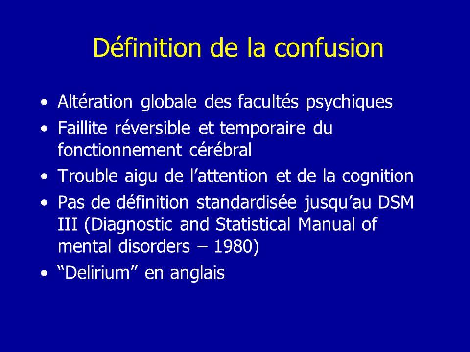 Définition de la confusion Altération globale des facultés psychiques Faillite réversible et temporaire du fonctionnement cérébral Trouble aigu de lat