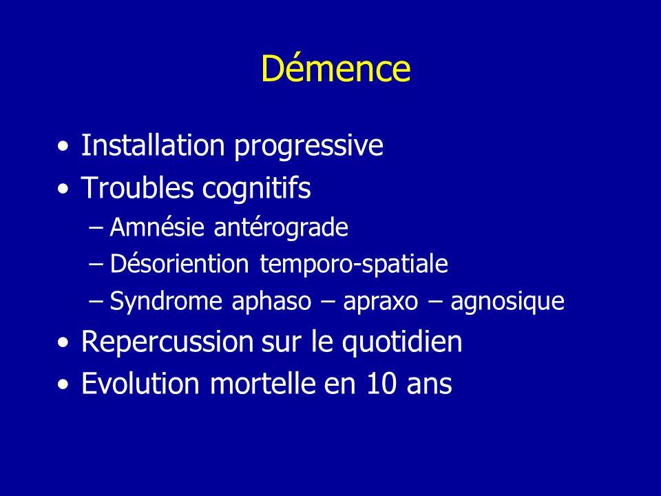 Démence Installation progressive Troubles cognitifs –Amnésie antérograde –Désoriention temporo-spatiale –Syndrome aphaso – apraxo – agnosique Repercus