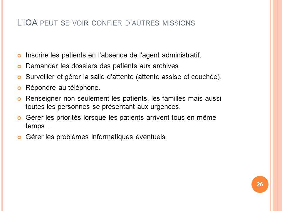 LIOA PEUT SE VOIR CONFIER D AUTRES MISSIONS Inscrire les patients en l'absence de l'agent administratif. Demander les dossiers des patients aux archiv