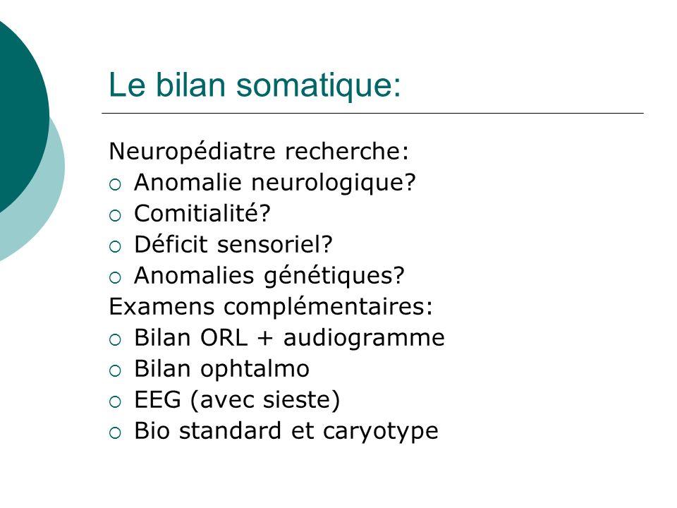 Le bilan somatique: Neuropédiatre recherche: Anomalie neurologique? Comitialité? Déficit sensoriel? Anomalies génétiques? Examens complémentaires: Bil