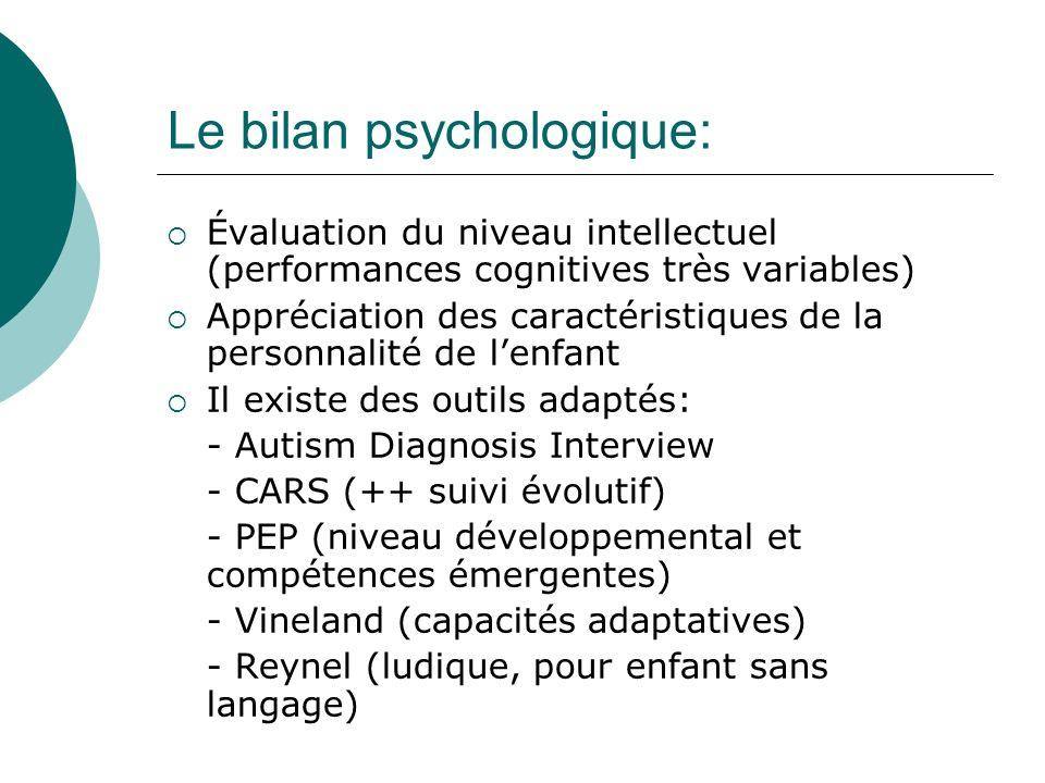 Le bilan psychologique: Évaluation du niveau intellectuel (performances cognitives très variables) Appréciation des caractéristiques de la personnalit