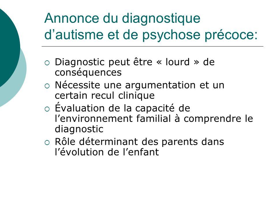 Annonce du diagnostique dautisme et de psychose précoce: Diagnostic peut être « lourd » de conséquences Nécessite une argumentation et un certain recu