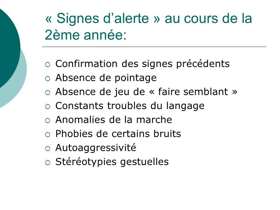 « Signes dalerte » au cours de la 2ème année: Confirmation des signes précédents Absence de pointage Absence de jeu de « faire semblant » Constants tr