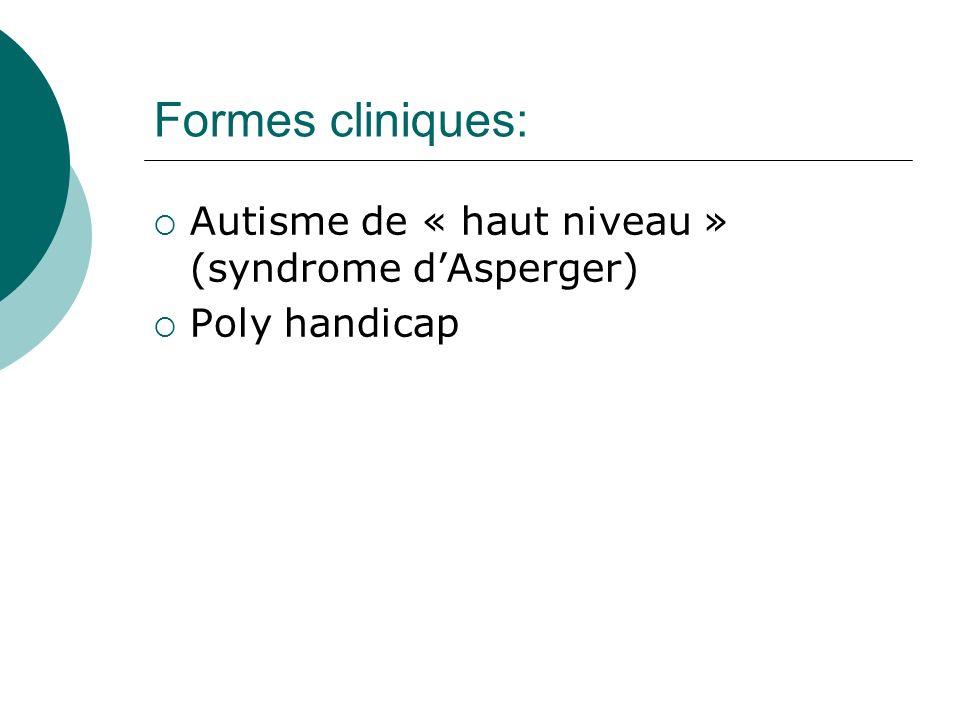 Formes cliniques: Autisme de « haut niveau » (syndrome dAsperger) Poly handicap