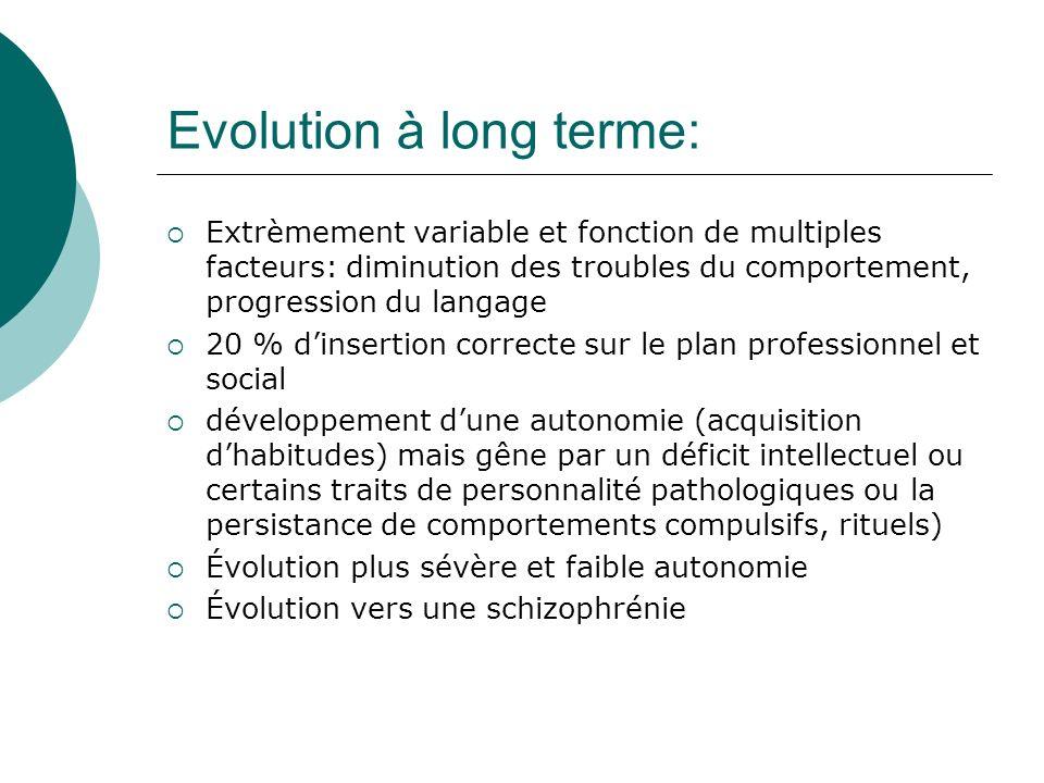 Evolution à long terme: Extrèmement variable et fonction de multiples facteurs: diminution des troubles du comportement, progression du langage 20 % d