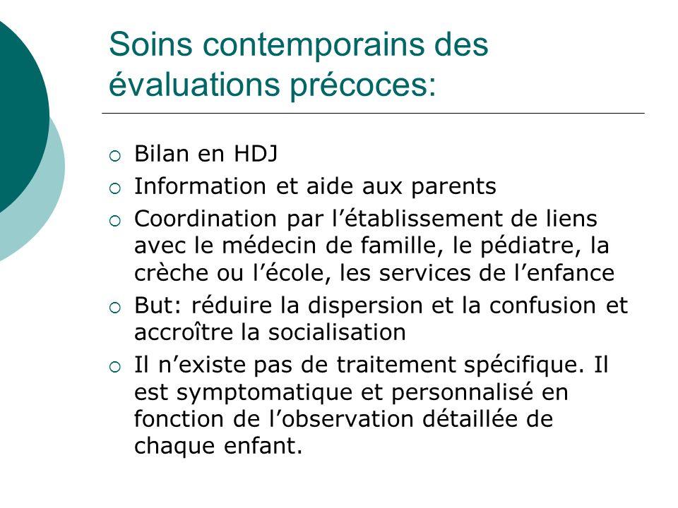 Soins contemporains des évaluations précoces: Bilan en HDJ Information et aide aux parents Coordination par létablissement de liens avec le médecin de