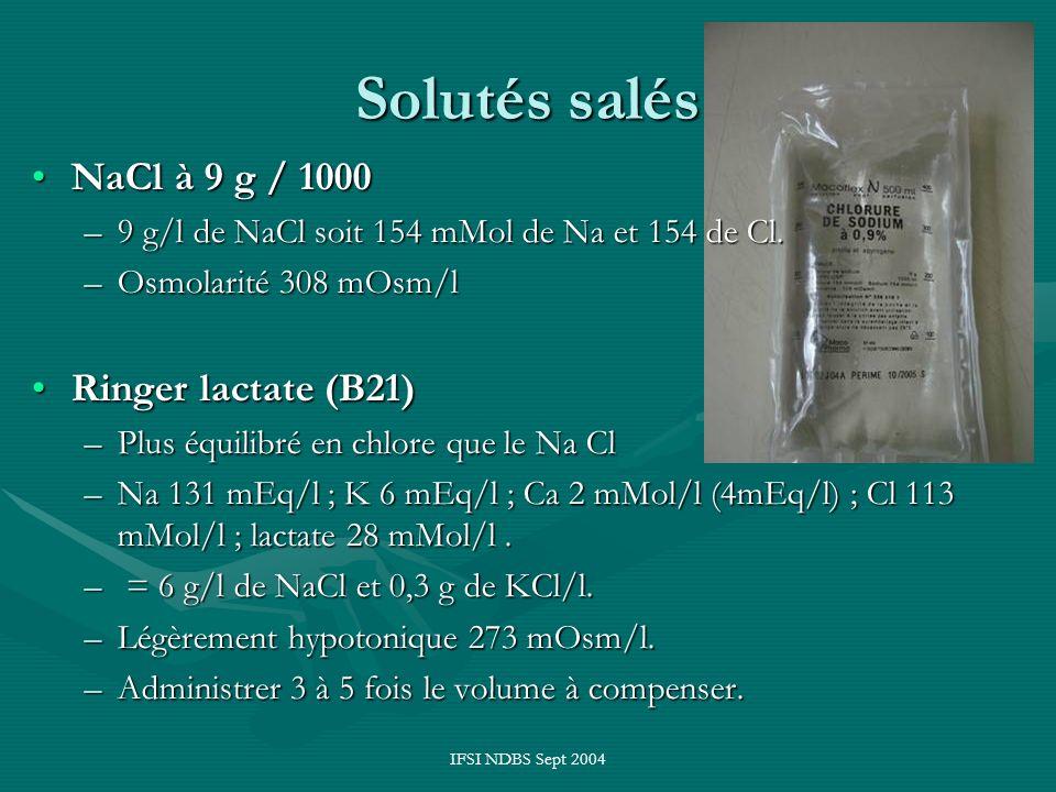 IFSI NDBS Sept 2004 Solutés salés NaCl à 9 g / 1000NaCl à 9 g / 1000 –9 g/l de NaCl soit 154 mMol de Na et 154 de Cl. –Osmolarité 308 mOsm/l Ringer la