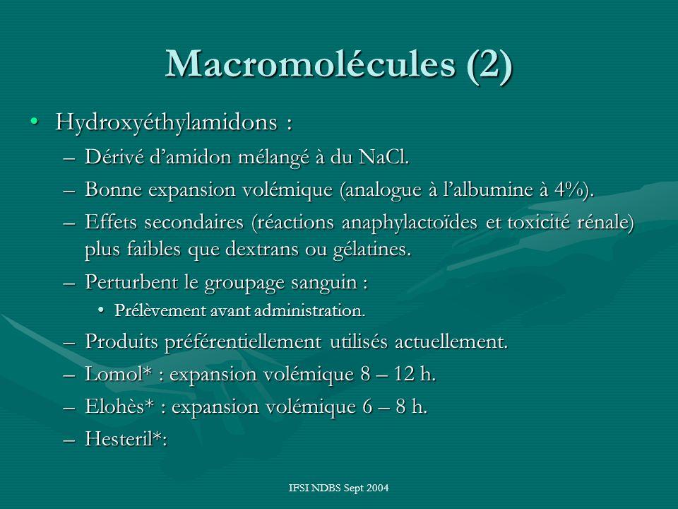 IFSI NDBS Sept 2004 Macromolécules (2) Hydroxyéthylamidons :Hydroxyéthylamidons : –Dérivé damidon mélangé à du NaCl. –Bonne expansion volémique (analo