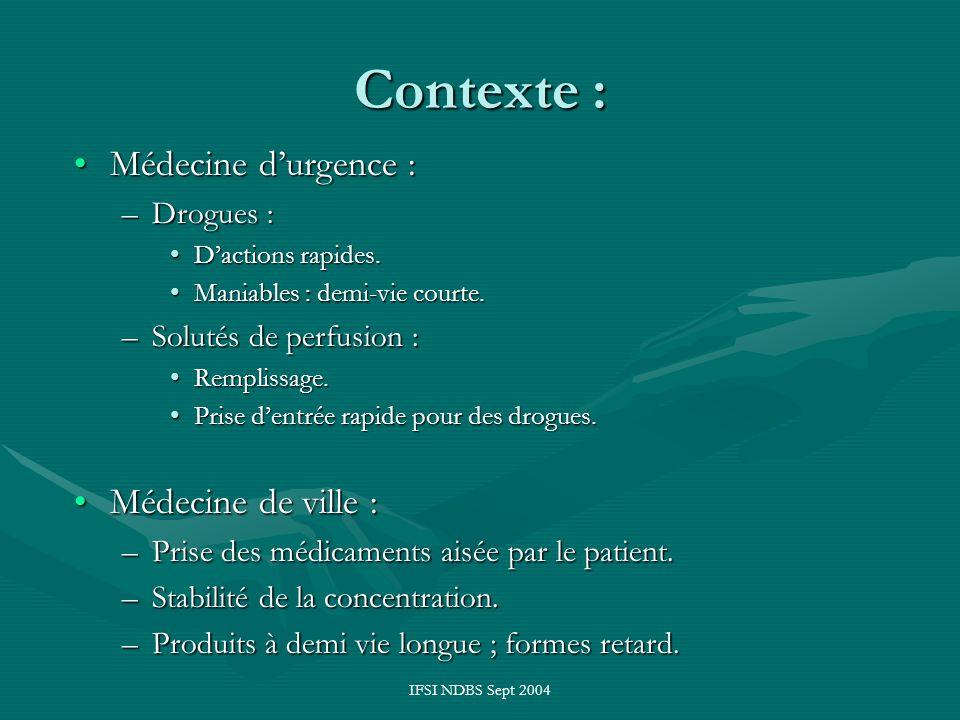 IFSI NDBS Sept 2004 Contexte : Médecine durgence :Médecine durgence : –Drogues : Dactions rapides.Dactions rapides. Maniables : demi-vie courte.Maniab